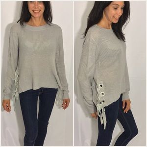 Sweaters - Lace Up Detailed Sweater